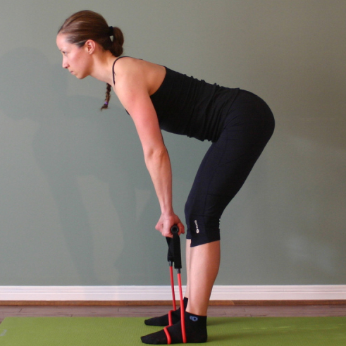 A banded single Leg Deadlift involves movement of the hips and targets the back, core and leg muscles.
