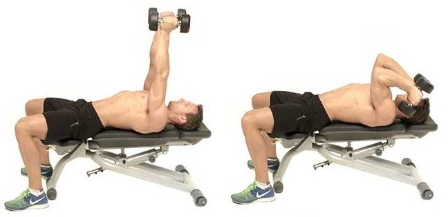 Lying dumbbell triceps extension as a warmup before your exercise routine
