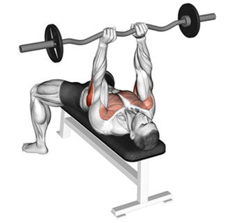 Illustration on how to properly execute the close bench press exercise routine