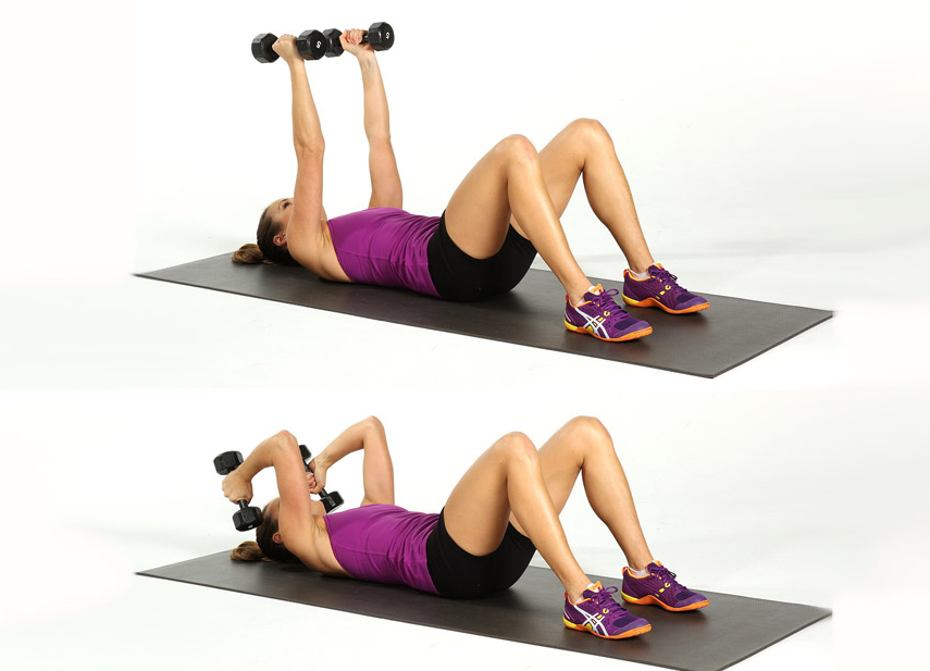 All that is required for the lying dumbbell triceps extension routine is a flat bench or floor and dumbbells