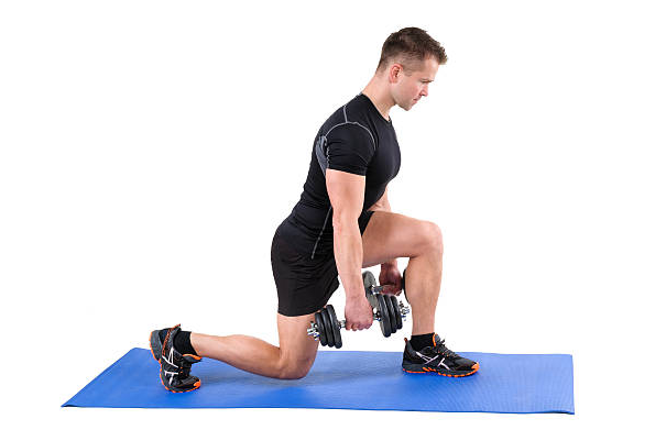 Regular split squat targets the lower body strengthening the muscles of the legs, including the quads, and hamstrings.