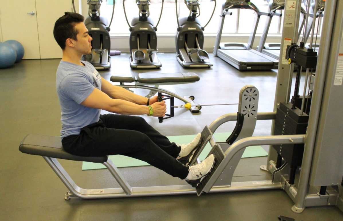 Do this Seated Row Exercise without the use of any machine